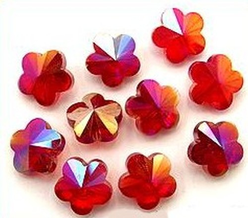 Blütenperlen ca. 14 x 14 x 8mm #6 rot AB