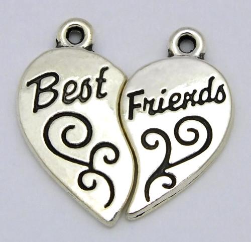 Metallanhänger Herz Best Friends zweiteilig ca. 22 x 23mm silberfb.