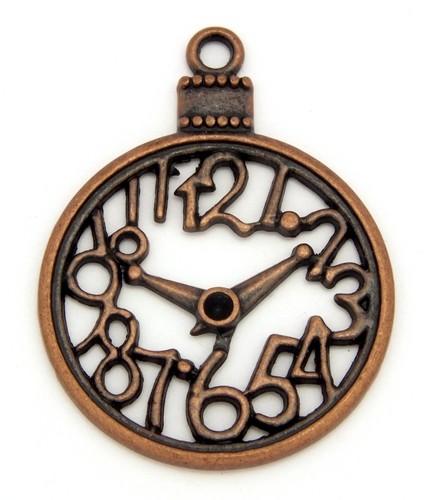 Steampunk Uhr Skeleton ca. 39 x 30mm kupferfarben 1Stk