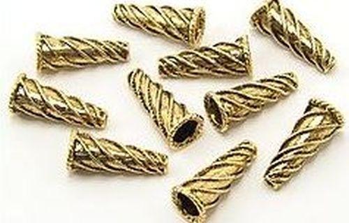 Perlkappen Zuckerhut ca. 21 x 10mm altgoldfarben