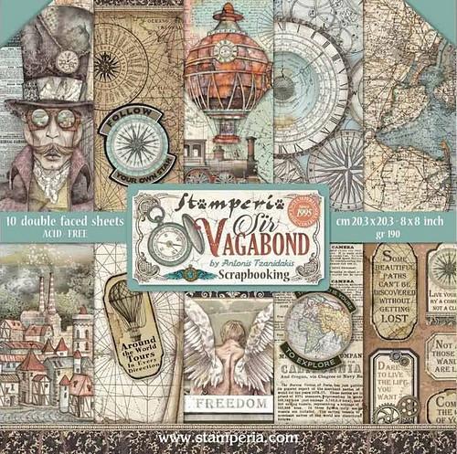 Stamperia Papierset Sir Vagabond 20,3 x 20,3 cm