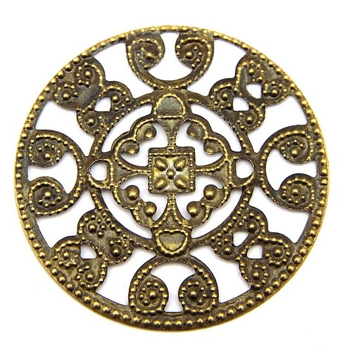 Steampunk Filigree Mandala I ca. 30mm antikfarben