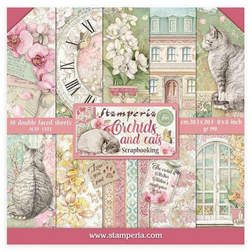 Stamperia Papierset Orchids and Cats 20,3 x 20,3 cm