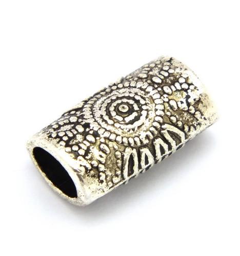 Metallröhrchen Inkasonne oval ca. 14 x 8 x 6mm silberfarben 1Stk