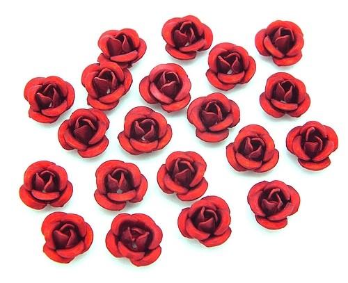 Alu-Röschen ca. 6 x 4mm rot 20Stk