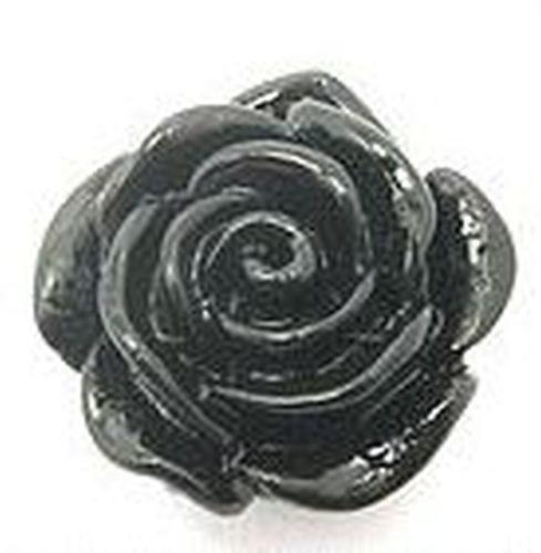 Resin Röschen ca. 15 x 10mm schwarz 1Stk