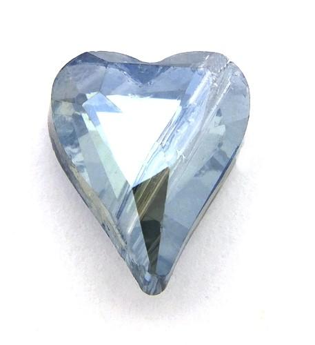 Glasschliff-Herz ca. 10 x 12mm blaugrau