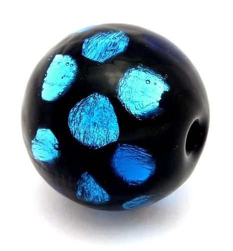 Silverfoilperle Dragonball ca. 19mm schwarz-blau gepunktet 1Stk