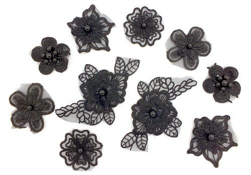 Spitzenblumen Set 10 teilig schwarz 1Stk