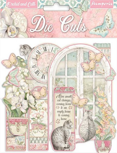 Stamperia Die Cuts Orchid and Cats 55-teilig