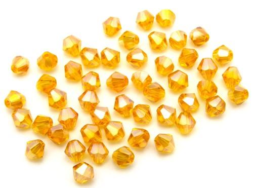 Bicone Glasschliffperlen ca. 4mm topaz AB