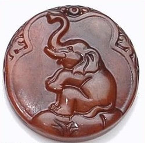Elefantenmedallion aus gebrannter Jade ca. 46mm 1Stk