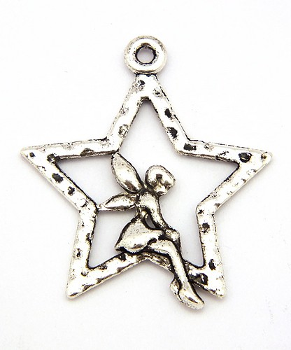 Charm Starlight Fairy ca. 25 x 27 x 2mm silberfarben