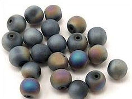 Glasperlen gefrostet ca. 8mm #02A/B schwarz 20Stk