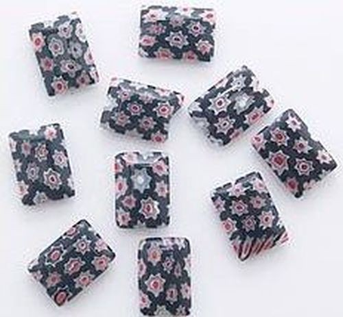 Millefiori Kissen ca.10 x 14mm schwarz 10Stk