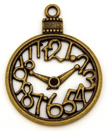 Steampunk Uhr Skeleton ca. 39 x 30mm antikfarben