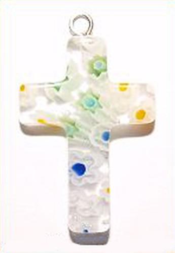 Millefiori Kreuz Anhänger ca. 25 x 18mm klar-bunt