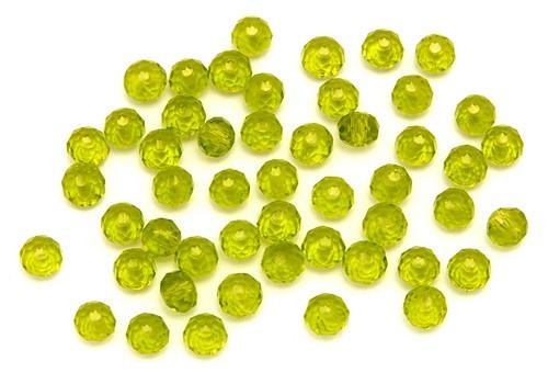 Glasschliff-Rondelle ca. 3 x 4mm olive 50Stk