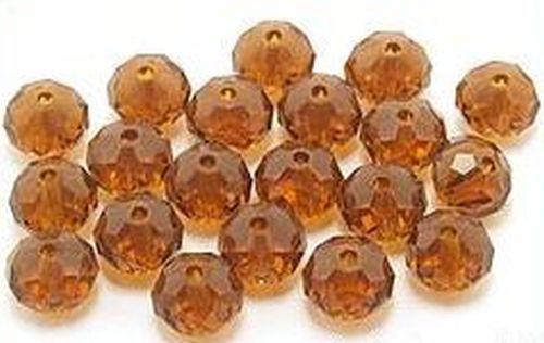 Glasschliff-Rondelle ca. 6 x 8mm # 15 braun