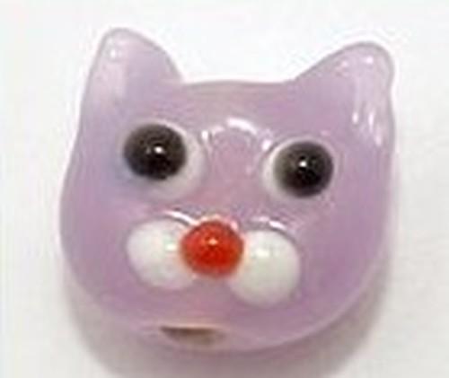 Lampworkperle Katze Flora ca.10 x 11 x 8mm flieder 1Stk
