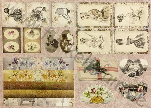 Cutout Sticker Bogen Vintage Romance DIN A4 1Stk