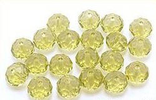 Glasschliff-Rondelle ca. 6 x 8mm #09 olive 20Stk