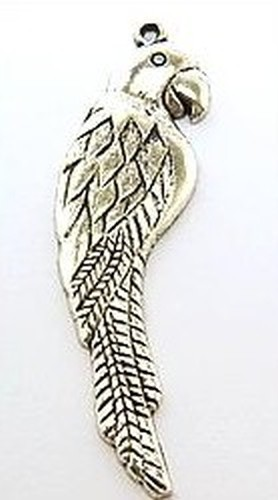 Metallanhänger Papagei ca. 58 x 15mm altsilberfarben