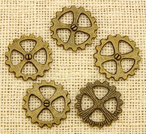Steampunk Zahnrad Cross ca. 14x1,5mm antikfarben