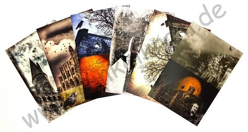 JunkJournal Postkarten Set Raben Gothic 2 - 12teilig