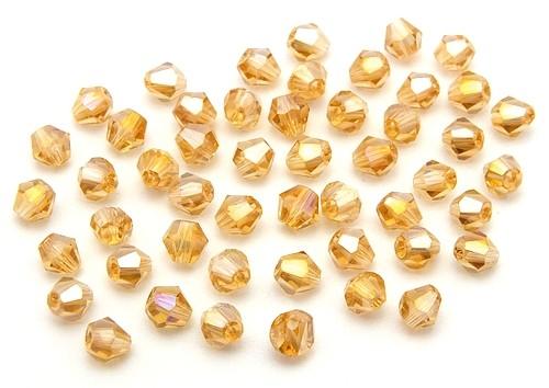Bicone Glasschliffperlen ca. 4mm golden shadow AB 50Stk