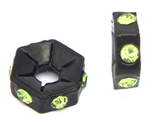 Strassrondelle black enamel grün ca. 7,6 mm