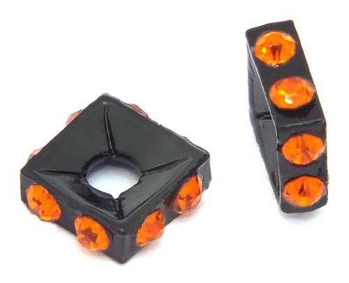 Strassquadrate black enamel orange ca. 7,6 mm