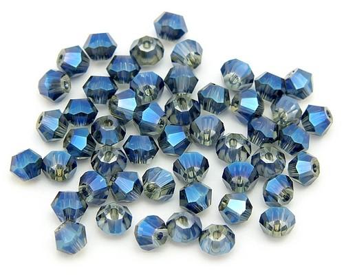 Bicone Glasschliffperlen ca. 4mm rauch-blau AB