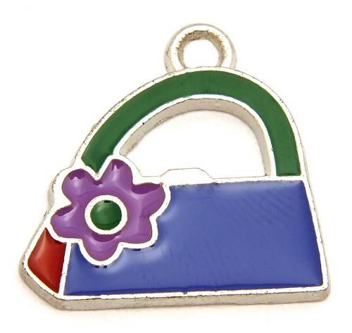 Metallanhänger blaue Tasche mit grünem Griff ca. 22 x 21mm 1Stk