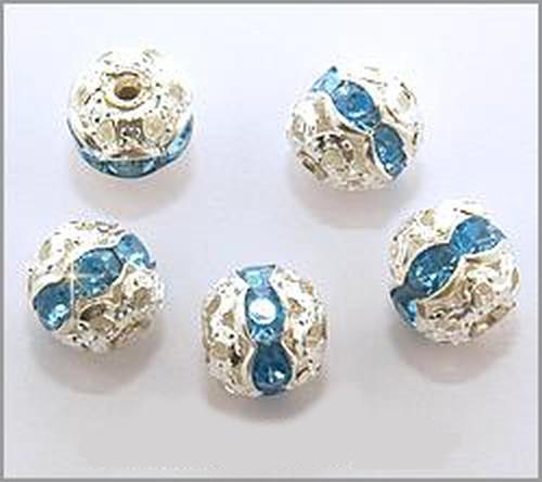 Strasskugeln blau ca. 7 x 8mm (Aluminium / Acryl)