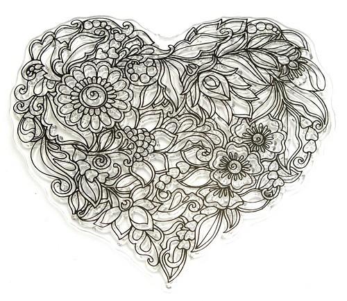 Stempel Mandala Flower Heart ca. 10 x 9 cm 1Stk