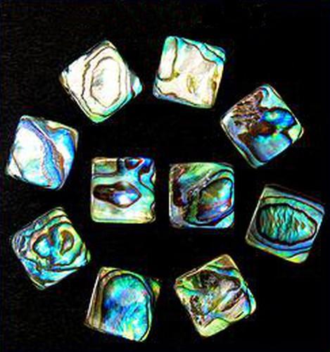 Perlmutt Quadrate, Paua/Abalone ca. 14x14mm 10Stk
