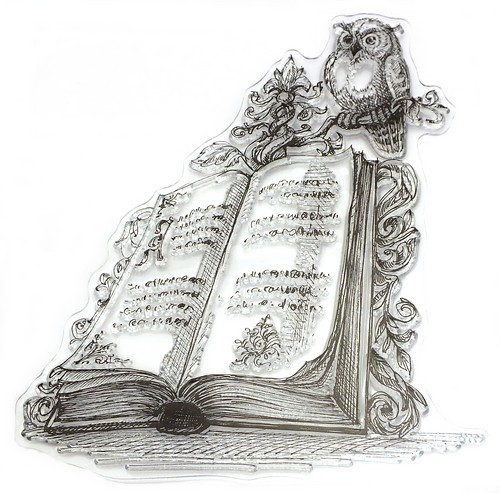 Stempel Buch mit Eule ca. 10 x 11,3 cm 1Stk