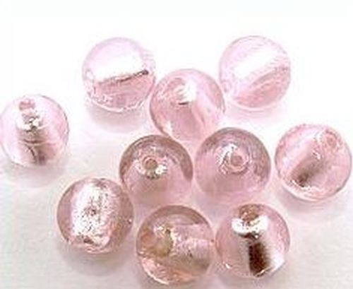 Silverfoil-Perlen, rosa ( Nr. 14 ) ca. 12mm 10Stk