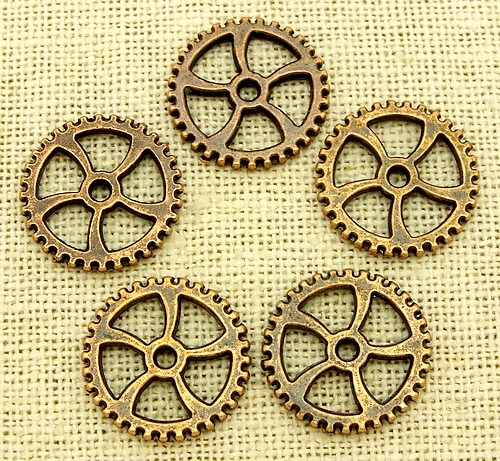 Steampunk Pinion ca. 18 x1,8mm kupferfarben