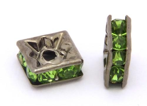Strassquadrate ca. 6mm schwarz-grün