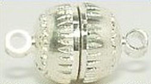 Magnetverschlüsse geriffelt groß ca. 8mm silberfarben 5Stk