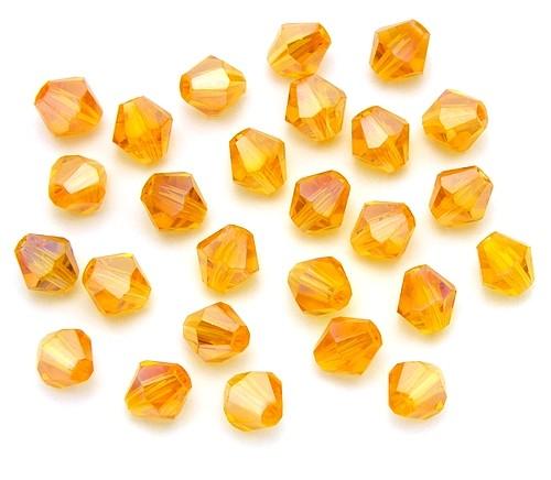 Bicone Glasschliffperlen ca. 6mm topaz AB