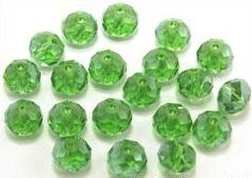 Glasschliff-Rondelle ca. 6 x 8mm # 18 emerald AB 20Stk