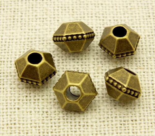 Steampunk Perle Sepia ca. 10 x 9mm antikfarben 5Stk