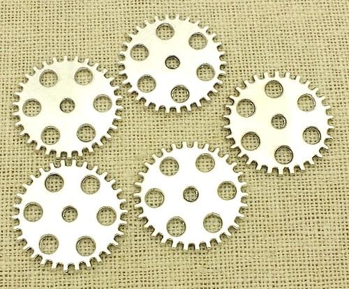 Steampunk Zahnräder Factory ca. 25x25x2mm silberfarben 5Stk