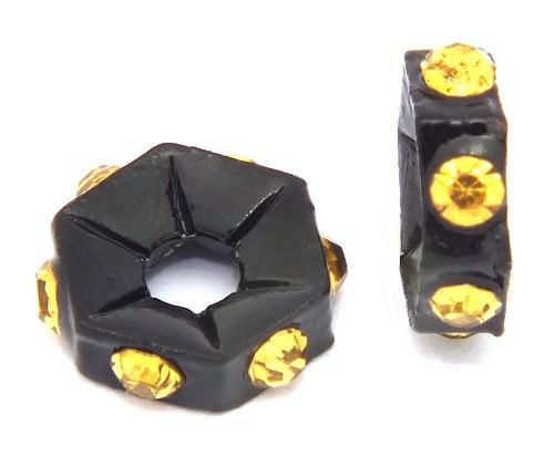 Strassrondelle black enamel topaz ca. 7,6 mm