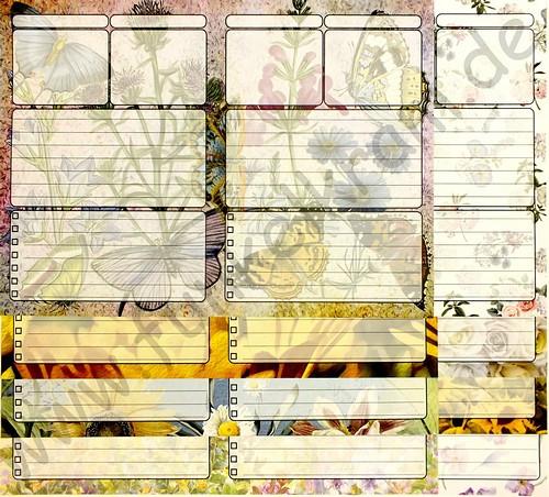 JunkJournal Papierset Planer Flower Power