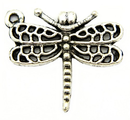 Metallanhänger Dragonfly ca. 23 x 20 mm altsilberfarben