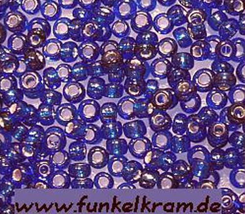 Rocailles ca. 2mm silberfarbener Einzug #28 Blau 50g